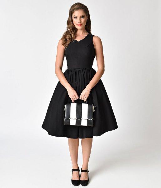 black scalloped neckline 1950s style swing dress