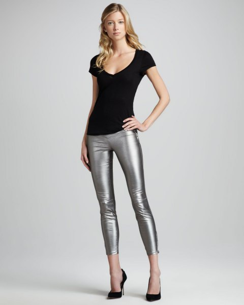 black scoop neck tee with silver cropped leggings