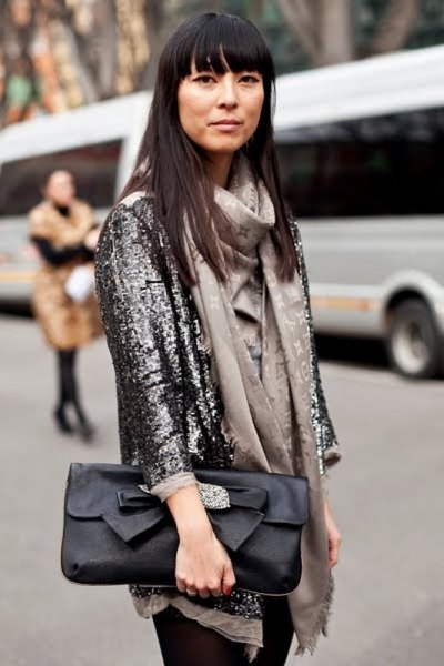 black sequin blazer with pink blouse and scarf