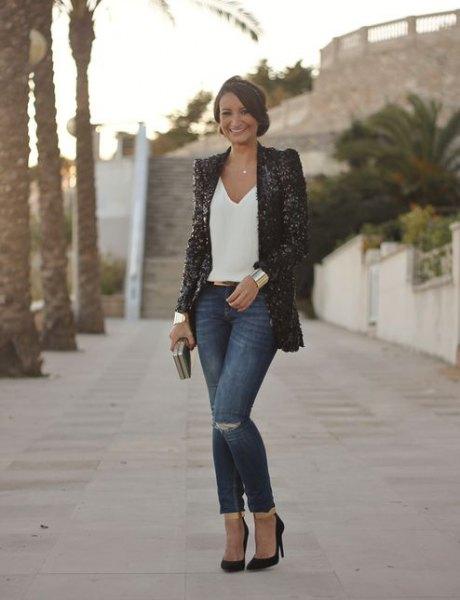black sequin blazer with white v neck top jeans