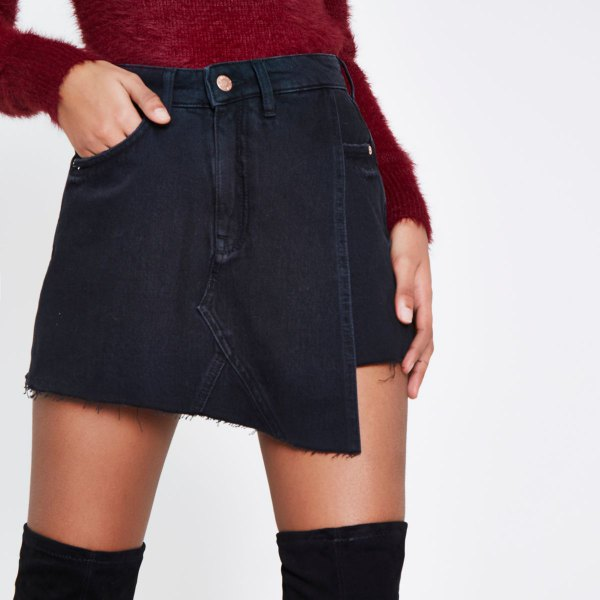 black skort with red fuzzy fitted knit sweater