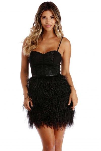 black spaghetti strap sweetheart belted feather dress
