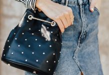 black studded bag denim skirt
