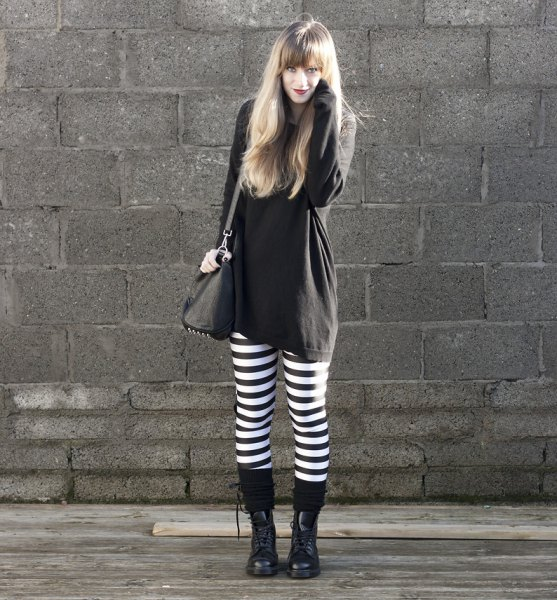 black sweatshirt dress horizontal striped leggings