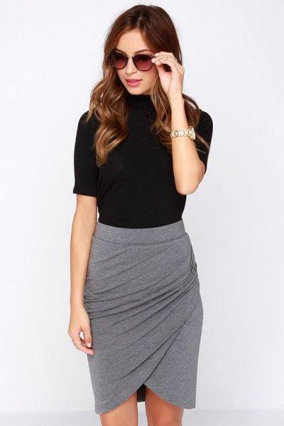 black t shirt with grey mini skirt