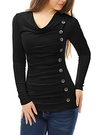 black top with button front details