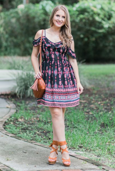 black tribal printed open shoulder mini flared dress