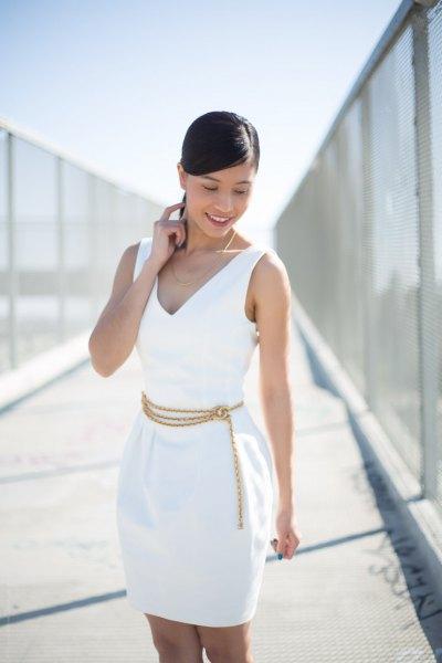 black v neck mini sheath dress with chain belt