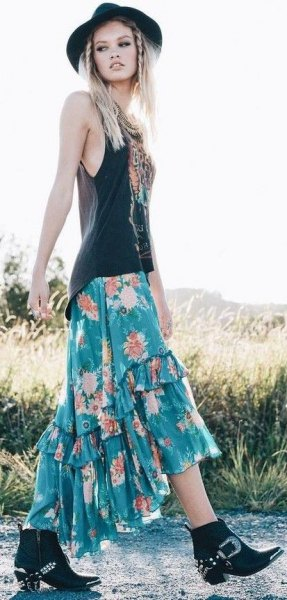 black vest top green floral printed bohemian maxi skirt