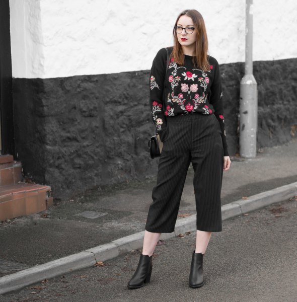 black wide leg cropped pants leather boots