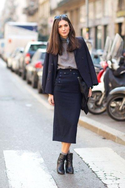 black wool blazer with grey mock neck sweater midi skirt