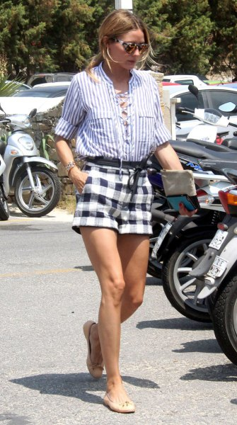 blue and white striped button up shirt checkered shorts