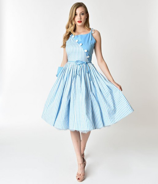 blue and white vertical striped midi swing dress