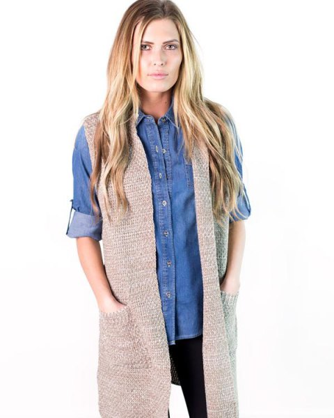 blue chambray boyfriend shirt grey sweater vest