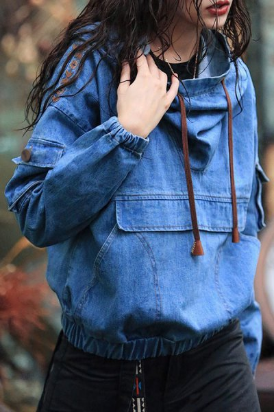 blue chambray embroidered hoodie black shift dress