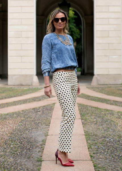 blue chambray long sleeve blouse white polka dot pants