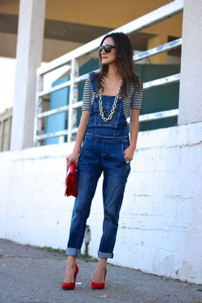 blue denim overall with half sleeve striped tee