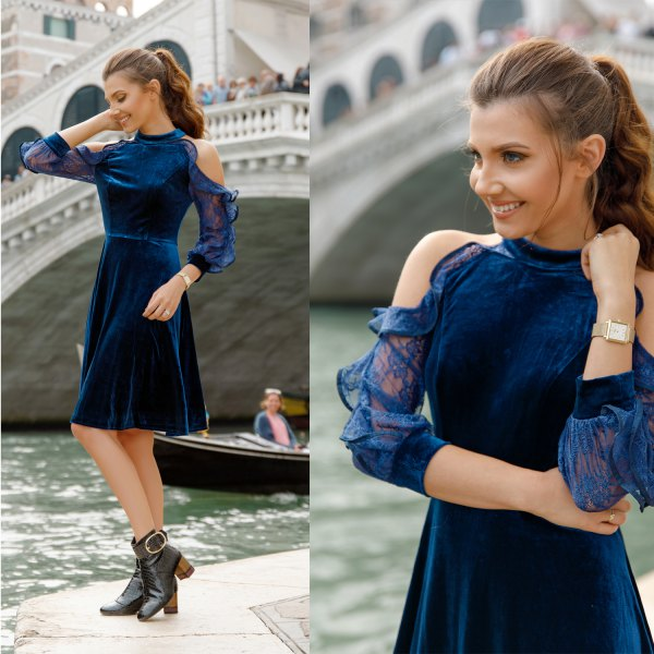 blue velvet mock neck skater midi dress