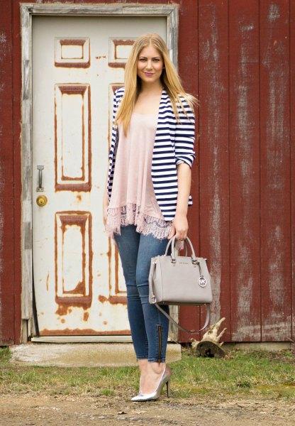 blush pink chiffon fringe top jeans