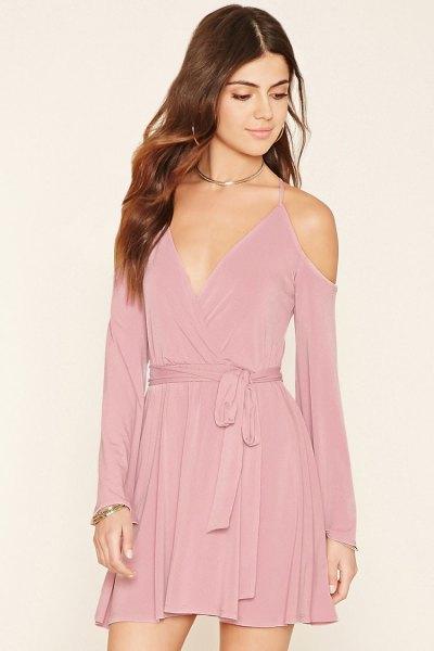 blush pink deep v neck tie waist mini flared velvet dress