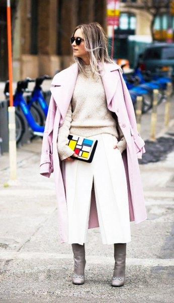 blush pink knit sweater light grey long wool coat