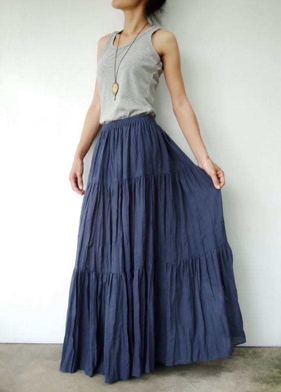 broomstick skirt blue grey