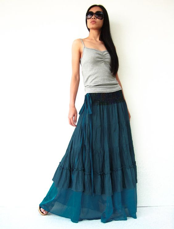 broomstick skirt teal