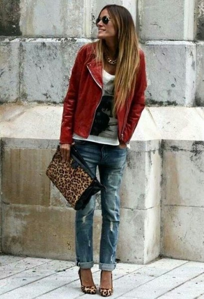 brown leather coat with white print tree boyfriend jeans
