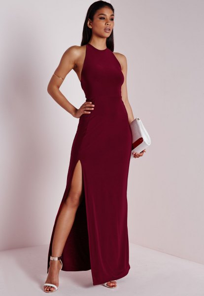 burgundy halter high split evening gown dress
