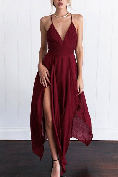 burgundy spaghetti strap high split maxi flared dress