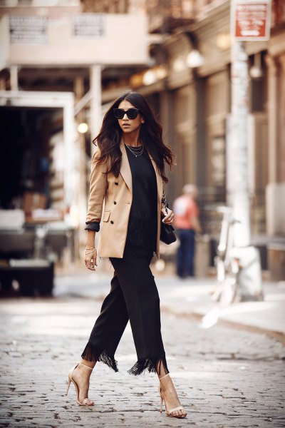 camel blazer with all black outfit