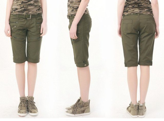 camo sleeveless top army green knee length shorts
