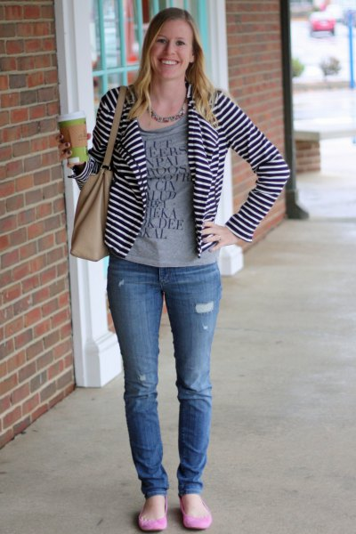 casual black and white striped blazer grey print tee