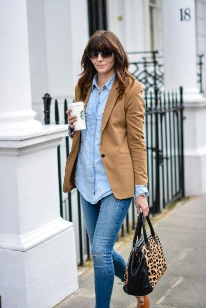 chambray boyfriend shirt and leopard print purse