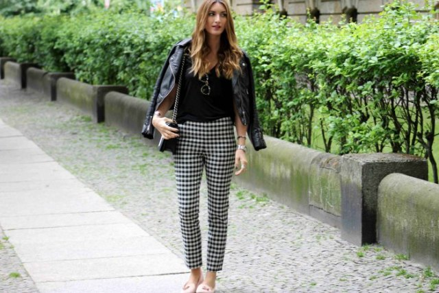 checkered cropped pants black leather jacket