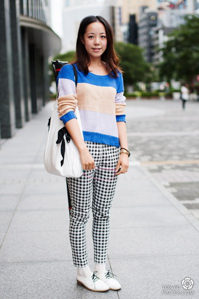 checkered pants color block knit sweater