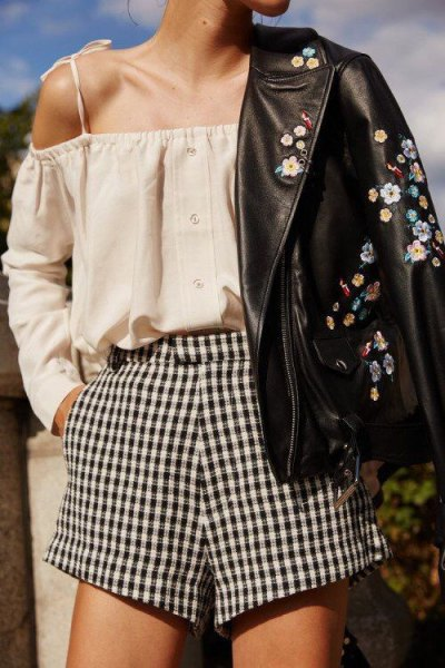 checkered shorts blush pink cold shoulder blouse embroidered leather jacket