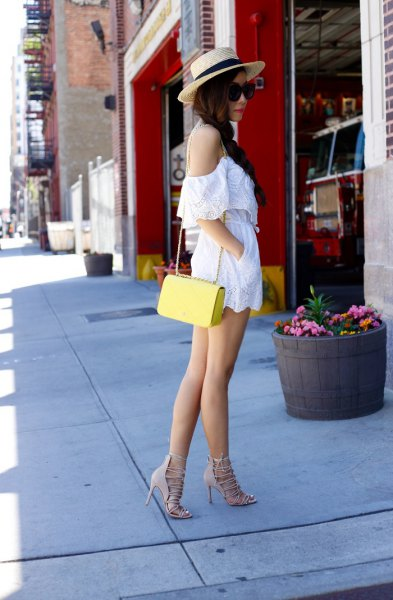 cold shoulder spaghetti strap rompbers with yellow purse