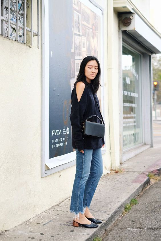 cold shoulder sweater black casual