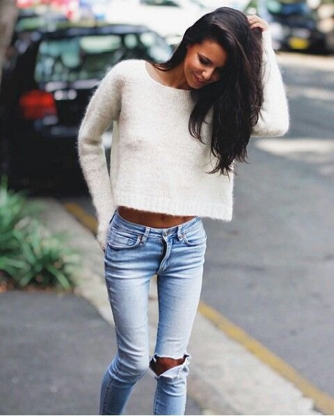 cropped white fuzzy sweater light blue ripped skinny jeans