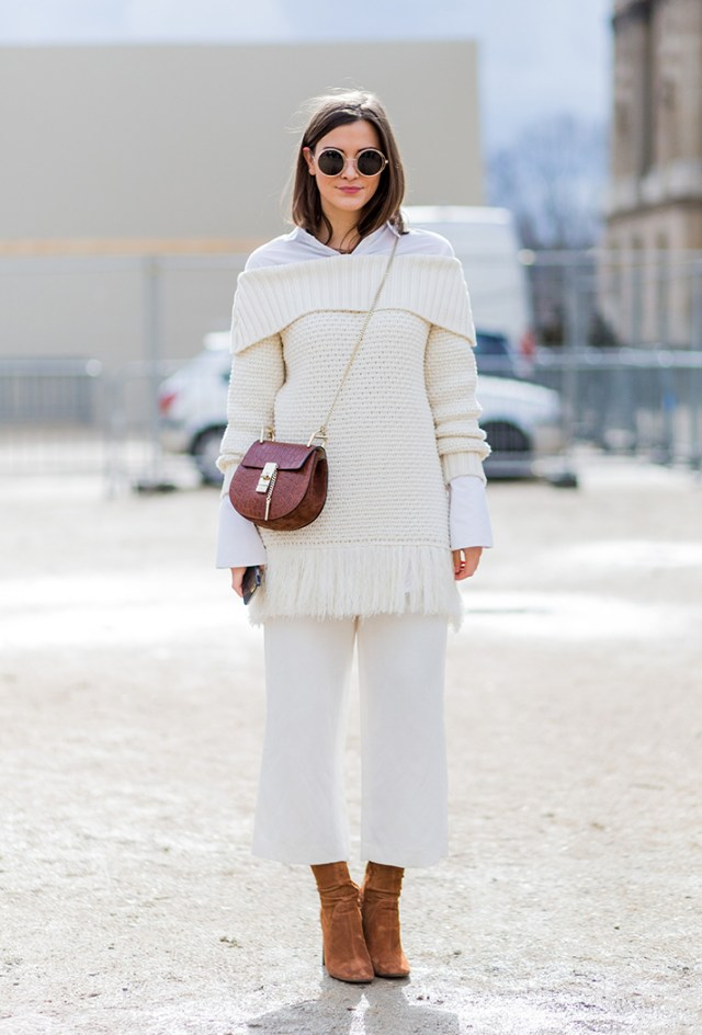 cropped wide leg pants all white