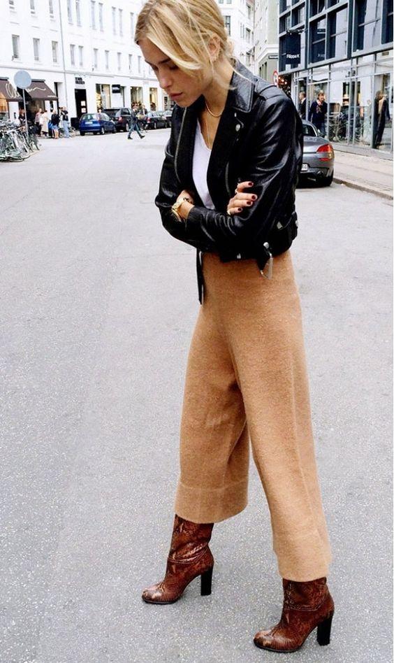 cropped wide leg pants camel black