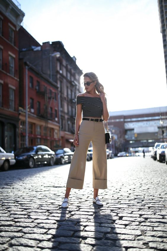 cropped wide leg pants khaki