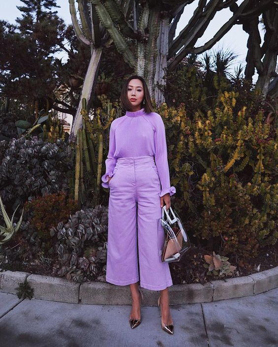 cropped wide leg pants lilac