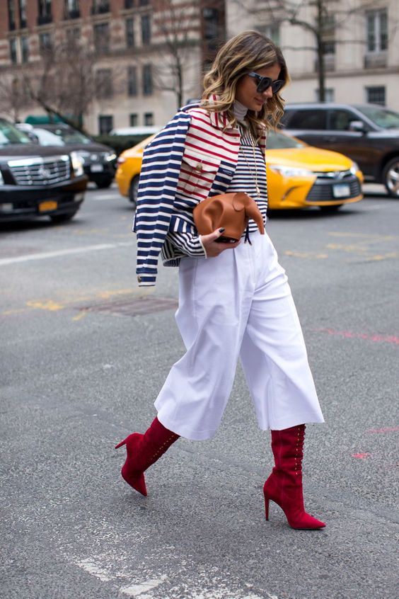 cropped wide leg pants red boots
