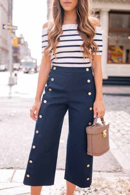 cropped wide leg pants sailor inspired