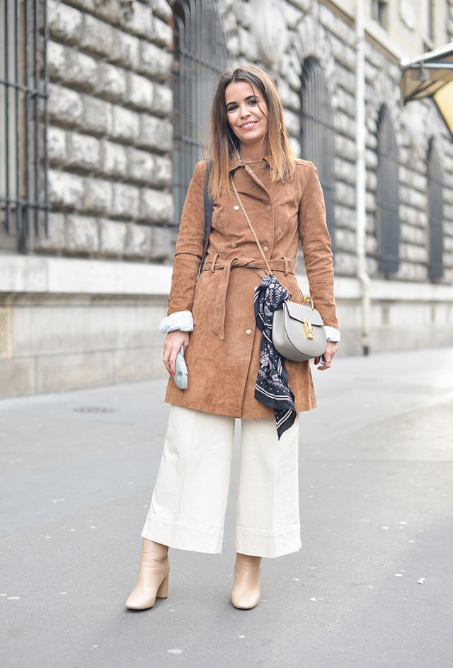 cropped wide leg pants suede