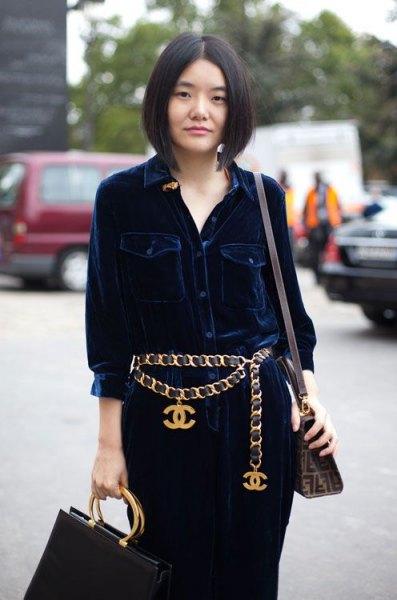 dark blue corduroy shirt dress with gold chain belt