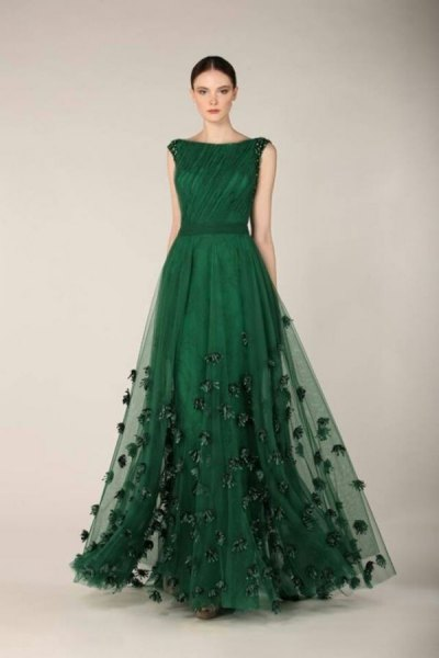 dark green embroidered chiffon evening gown dress