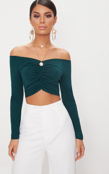 dark green off shoulder ruched crop top white wide leg pants
